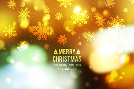 festive background: vector blurred christmas background with lights and snowflakes, merry christmas and happy new year text