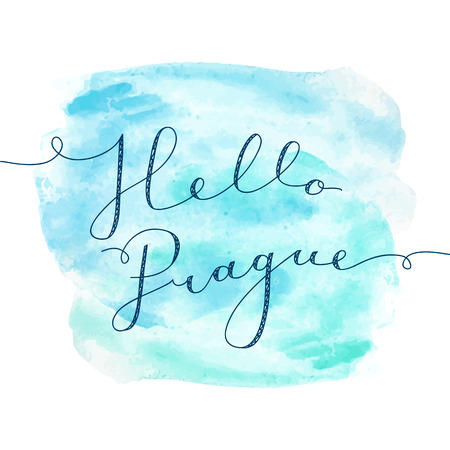 hello Prague, vector handwritten lettering on realistic watercolor background