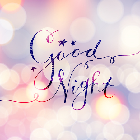 bon lettrage de nuit, vecteur texte manuscrit avec des étoiles Vecteurs