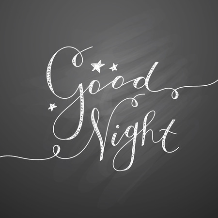 night school: good night lettering, vector handwritten text with stars