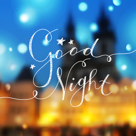 czech republic: good night lettering, vector handwritten text with stars