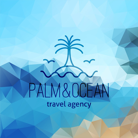 travel agency  on polygon seascape background, palm on island and wave Illustration
