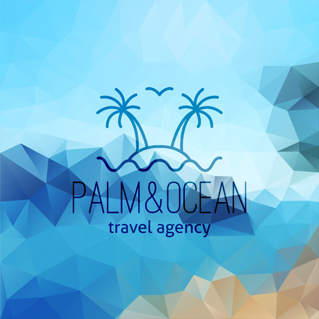 travel agency on polygon seascape background, palms on island and wave