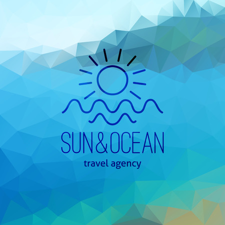 touristic: travel agency  on polygon seascape background, sun and waves Illustration