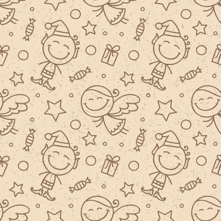 elves: christmas seamless pattern with angels and elves