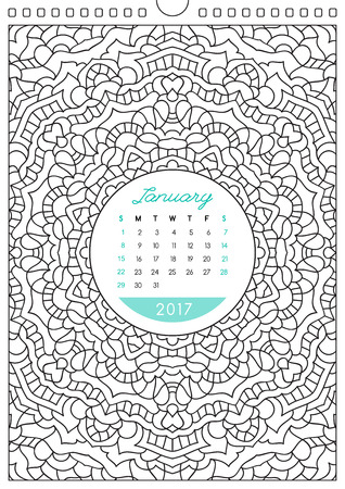 anti stress: wall calendar 2017 with ornament for coloring, anti stress coloring book, january