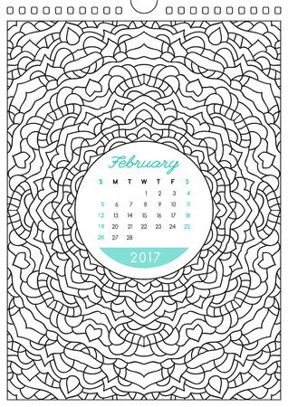 looseleaf: wall calendar 2017 with ornament for coloring, anti stress coloring book, february