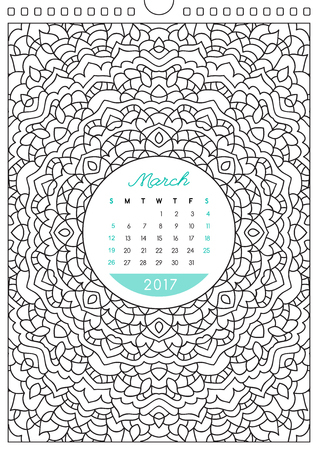 colorize: wall calendar 2017 with ornament for coloring, anti stress coloring book, march