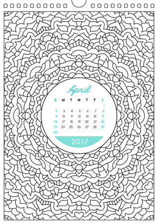 colorize: wall calendar 2017 with ornament for coloring, anti stress coloring book, april Illustration