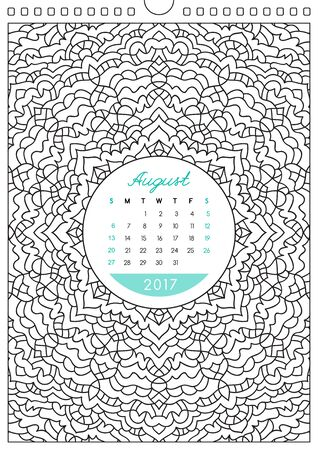 anti stress: wall calendar 2017 with ornament for coloring, anti stress coloring book, august