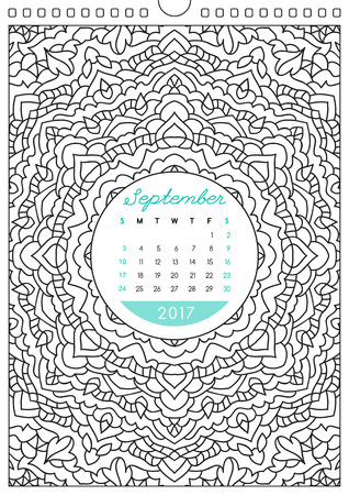 looseleaf: wall calendar 2017 with ornament for coloring, anti stress coloring book, september Illustration