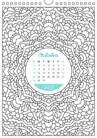 looseleaf: wall calendar 2017 with ornament for coloring, anti stress coloring book, october