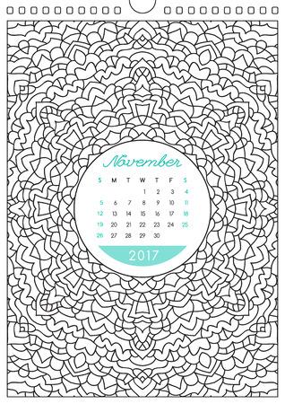 壁掛けカレンダー 2017 飾りとぬりえアンチ ストレスの塗り絵7 月の