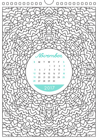 looseleaf: wall calendar 2017 with ornament for coloring, anti stress coloring book, november