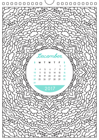 anti stress: wall calendar 2017 with ornament for coloring, anti stress coloring book, december Illustration