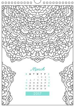 Calendario De Pared 2017 Con El Ornamento Para Colorear, Colorear ...