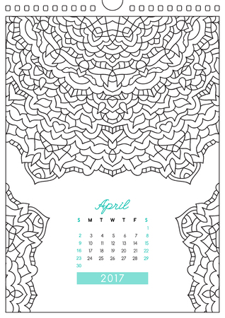 looseleaf: wall calendar 2017 with ornament for coloring, anti stress coloring book, april Illustration