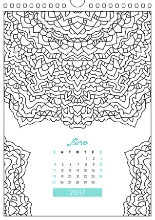 colorize: wall calendar 2017 with ornament for coloring, anti stress coloring book, june