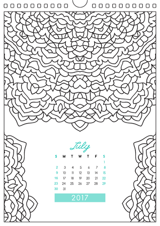 looseleaf: wall calendar 2017 with ornament for coloring, anti stress coloring book, july