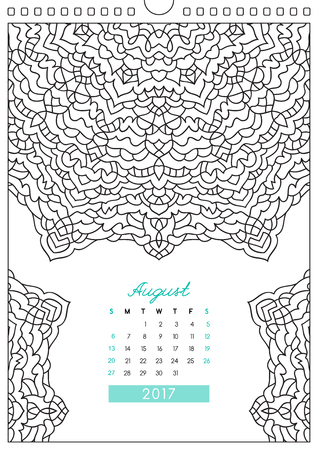 colorize: wall calendar 2017 with ornament for coloring, anti stress coloring book, august