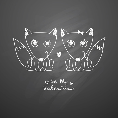 enamored: vector hand drawn foxes couple, greeting card for valentines day Illustration