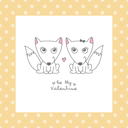 shape cub: vector hand drawn foxes couple, greeting card for valentines day Illustration