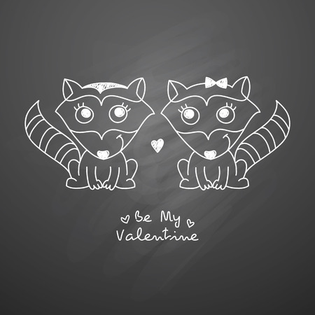 two child: vector hand drawn raccoons couple, greeting card for valentines day