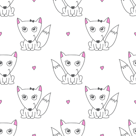 colorize: vector seamless pattern of foxes, texture for baby products or souvenirs Illustration