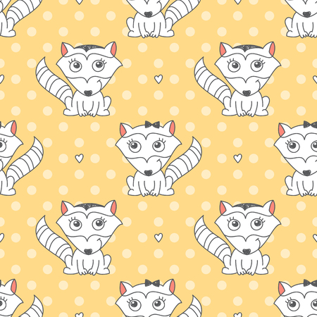 raccoons: vector seamless pattern of raccoons, texture for baby products or souvenirs
