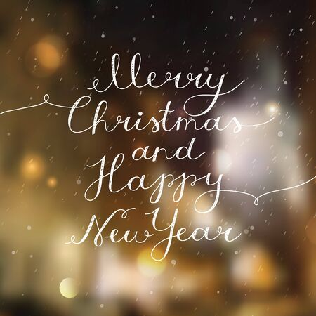 merry christmas and happy new year, vector lettering, handwritten text on blurred background of night winter town