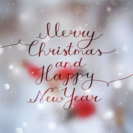 merry christmas and happy new year, vector lettering, handwritten text on blur winter background with red berries