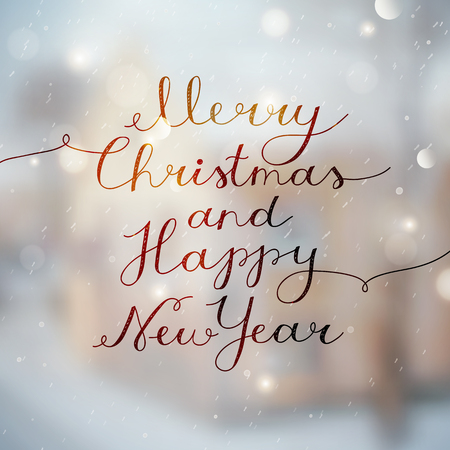 merry christmas and happy new year, vector lettering, handwritten text on blurred winter background Illustration