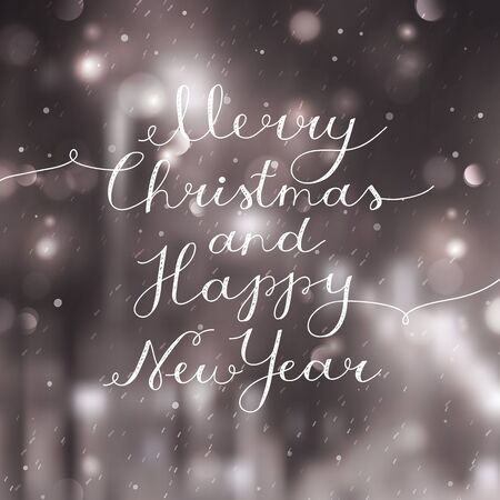 inscription: merry christmas and happy new year, vector lettering, handwritten text on blurred background of night winter street Illustration