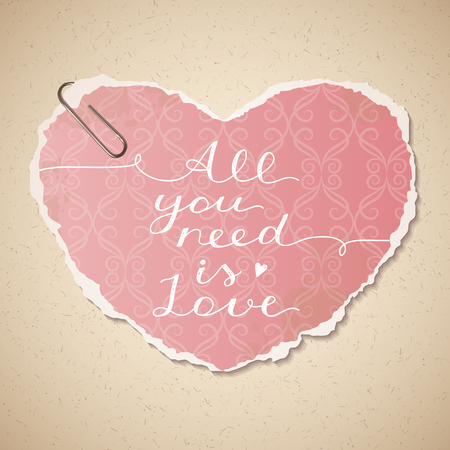 love wallpaper: all you need is love, vector lettering on old paper texture and wallpaper heart Illustration