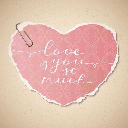 love wallpaper: love you so much, vector lettering on old paper texture and wallpaper heart