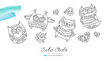heart sketch: vector owls for coloring.