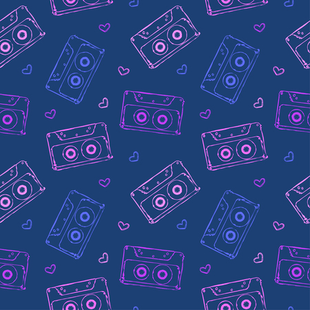 acido: vector seamless pattern with audio cassettes and hearts