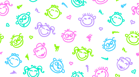 emotion faces: funny faces, hand drawn seamless pattern, emoticons background. Illustration