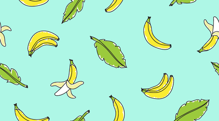 vector seamless pattern with hand drawn bananas and leaves on mint background