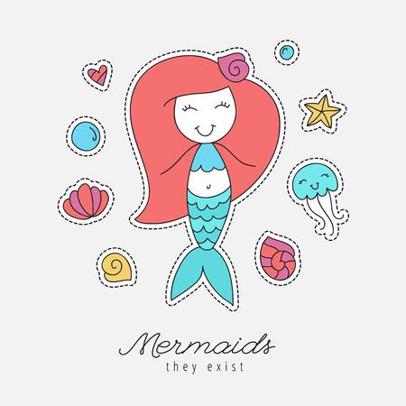 baby stuff: cartoon mermaid, shells, starfish, jellyfish and bubbles, sea elements for design