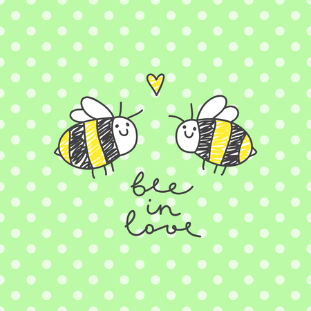 enamored: cute bees couple and handwritten text, bee in love Illustration