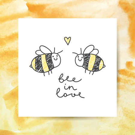 cute bees couple and handwritten text, bee in love Illustration