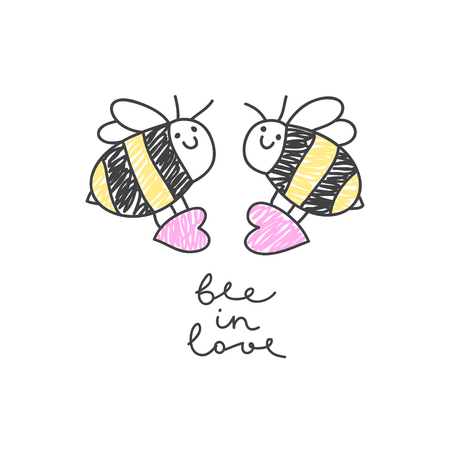 vector bees couple with hearts, greeting card template