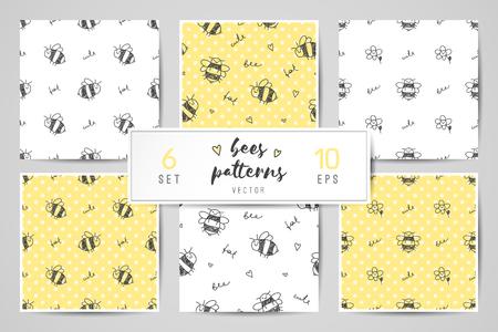 cute hand drawn bees, seamless patterns set