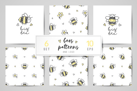 cute hand drawn bees, seamless patterns and logo set  イラスト・ベクター素材
