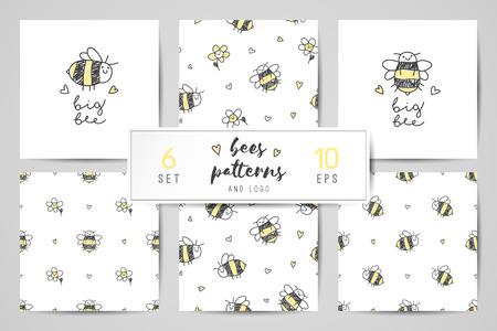 cute hand drawn bees, seamless patterns and logo set Illustration