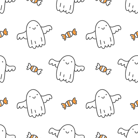 hand print: halloween seamless pattern with cute hand drawn ghosts