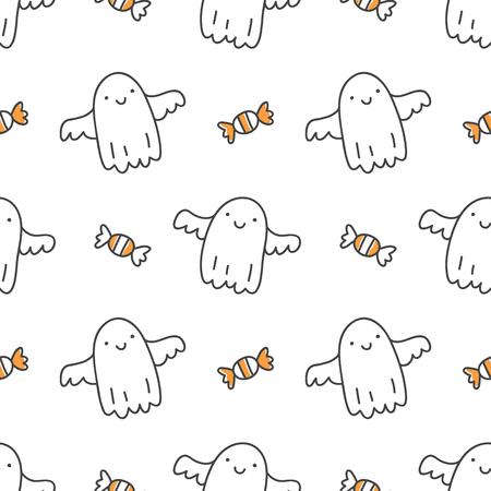 Modèle sans couture d'halloween avec des fantômes dessinés à la main mignons Banque d'images - 86139001