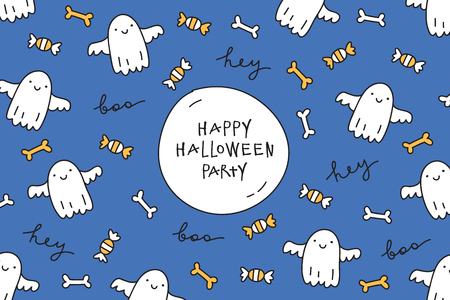 hand print: vector halloween greeting card with cute hand drawn ghosts