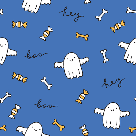 halloween seamless pattern with cute hand drawn ghosts